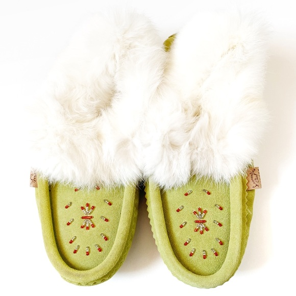 Laurentian Chief Green Beaded Moccasin Slipper 8